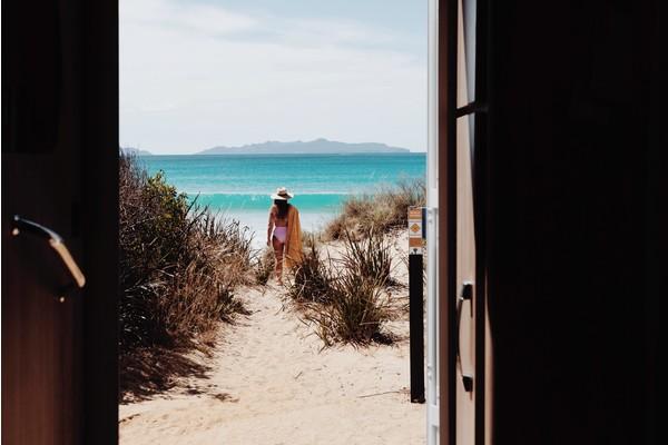 Window to Kelvedon Beach, Tasmania, Australia