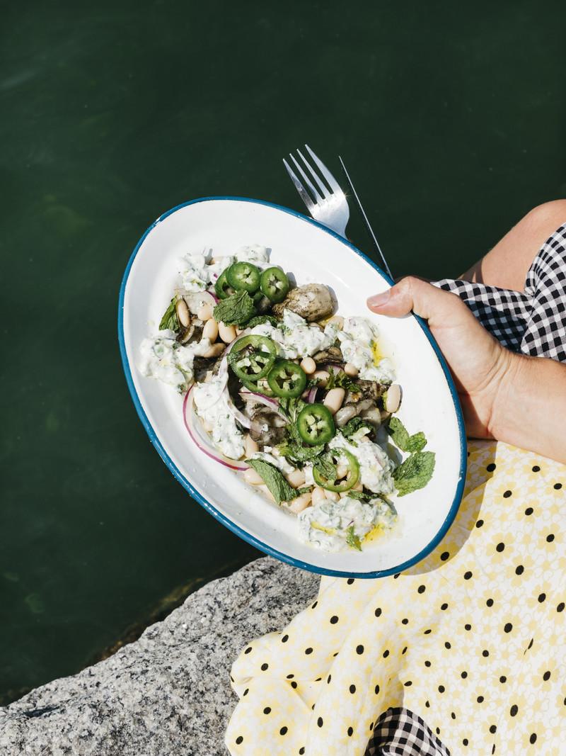 Squid and Bean Salad with Cilantro Cream