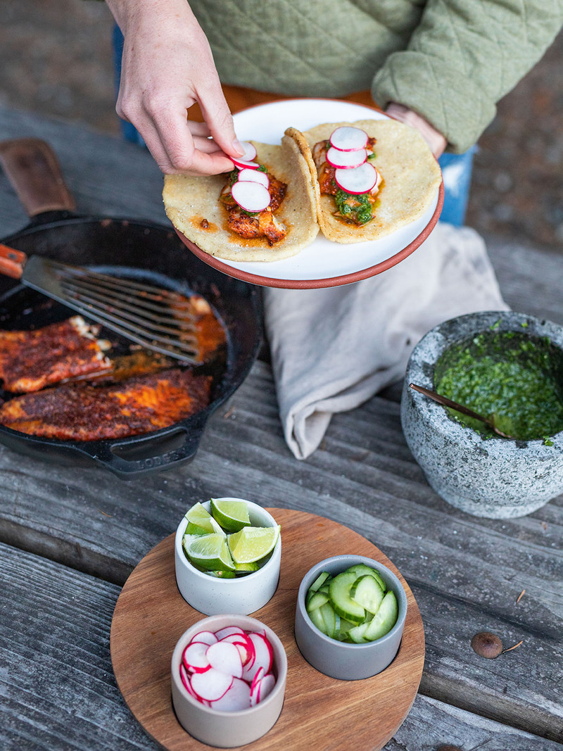 <h1>Blackened Rockfish Tacos with Traditional Chimichurri and Fire Roasted Tortillas</h1>