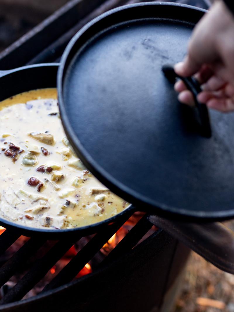 <h1>Campfire Bacon Artichoke Frittata</h1>