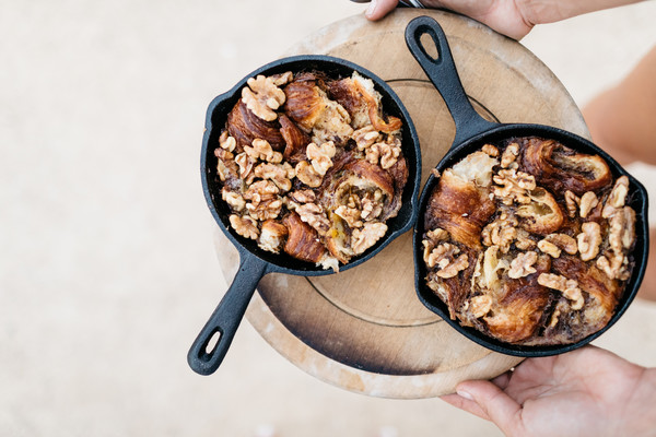 Caramelized Maple Walnut Croissant Pudding